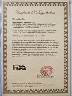 FDA certificate of Bause Cosmetics